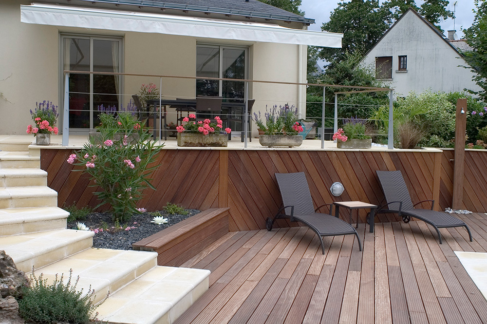 Paysagiste cr ation jardins saumur entreprise berjamin - Photo amenagement terrasse exterieur ...
